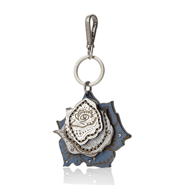 FL by NADA SAWAYA Bag Charm Blue Jeans / Antic silver Rose Laser Cut Leather Charm