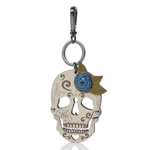 FL by NADA SAWAYA Bag Charm Blue Jeans Skull Laser Cut Leather Charm