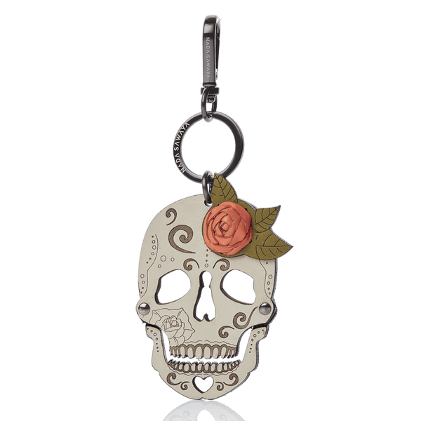 FL by NADA SAWAYA Bag Charm Orange Skull Laser Cut Leather Charm