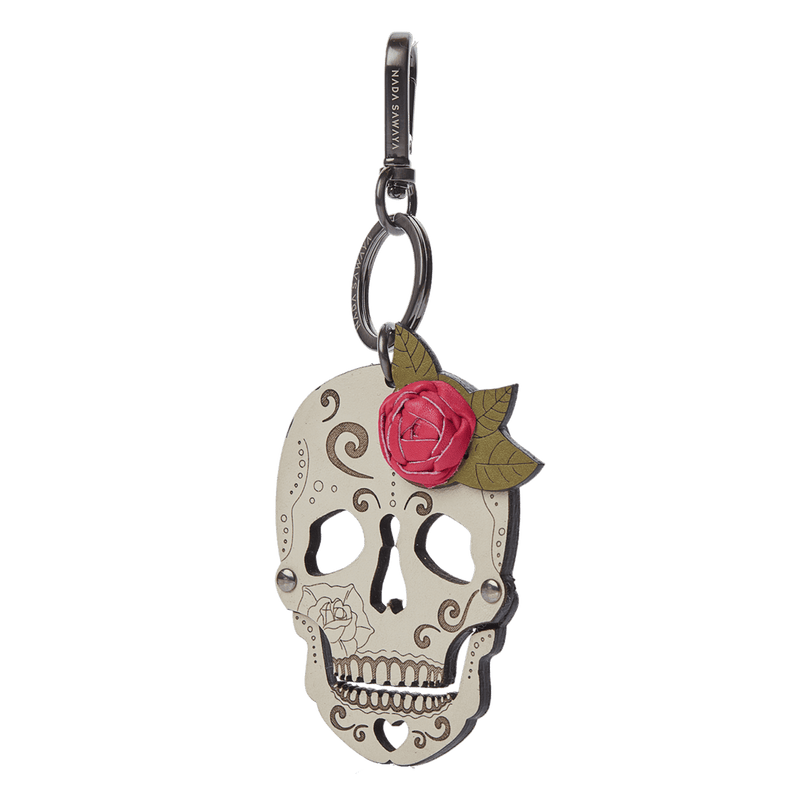 FL by NADA SAWAYA Bag Charm Pink Skull Laser Cut Leather Charm