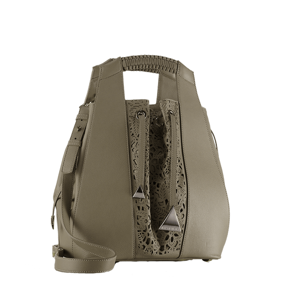 FL by NADA SAWAYA Bucket bag Mud Leah - Large Laser Cut Leather Bucket Bag - Lace Pattern