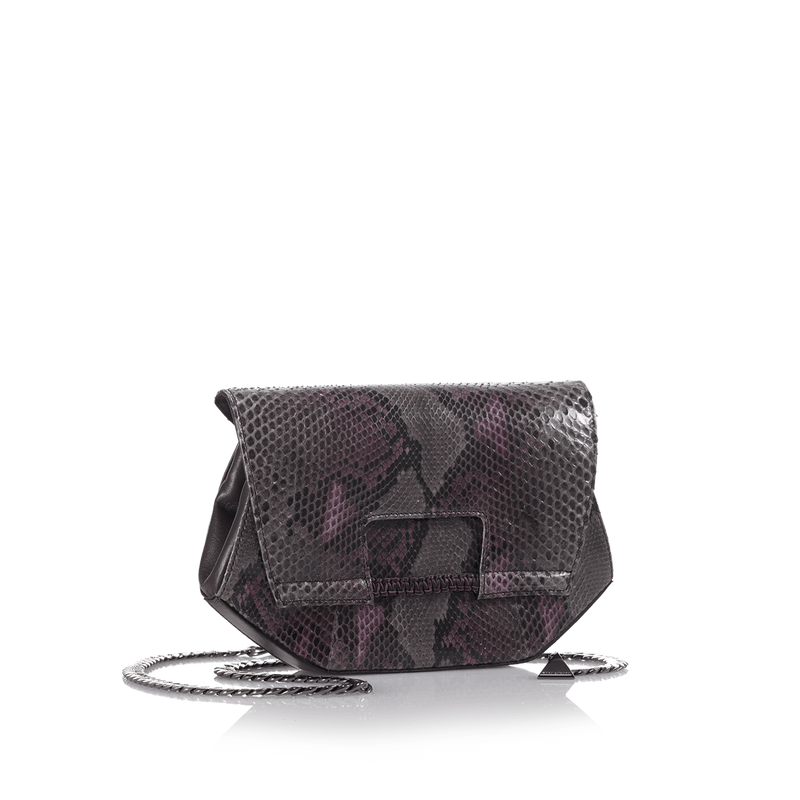 FL by NADA SAWAYA Clutch Purple and Grey Alma - Python and Leather Clutch