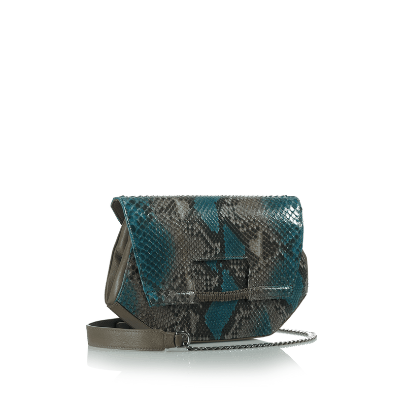 FL by NADA SAWAYA Clutch Teal and Taupe Alma - Python and Leather Clutch