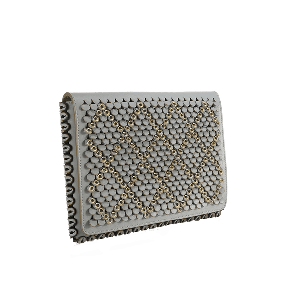 FL by NADA SAWAYA Clutch Bluish Grey Clara - Medium Laser Cut Leather Clutch