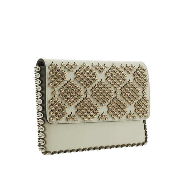 FL by NADA SAWAYA Clutch Beige Cleo - Medium Laser Cut Leather Clutch
