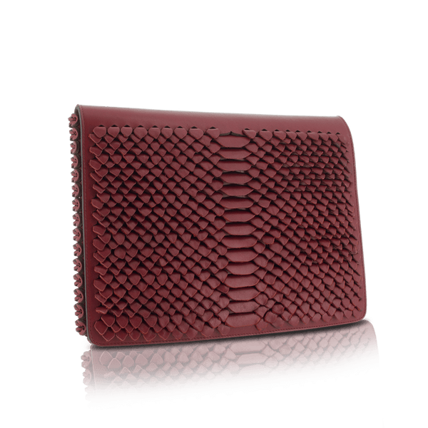 FL by NADA SAWAYA Clutch Red / Gold Cora - Large Laser Cut Leather Clutch