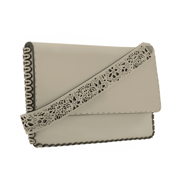 FL by NADA SAWAYA Clutch Beige / Brass Gold Cynthia - Large Laser Cut Leather Clutch
