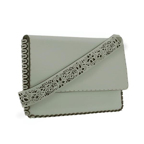 FL by NADA SAWAYA Clutch Grey / Antic silver Cynthia - Large Laser Cut Leather Clutch