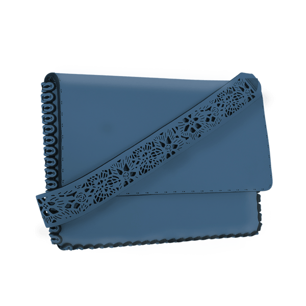 FL by NADA SAWAYA Clutch Jeans / Antic silver Cynthia - Large Laser Cut Leather Clutch