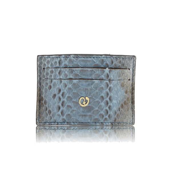 FL by NADA SAWAYA Credit Card Holder Blue Jeans Python Card Case