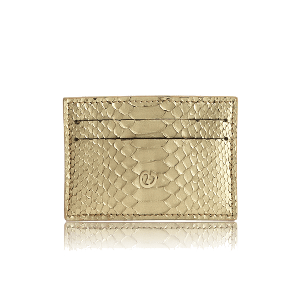 FL by NADA SAWAYA Credit Card Holder Gold Python Card Case