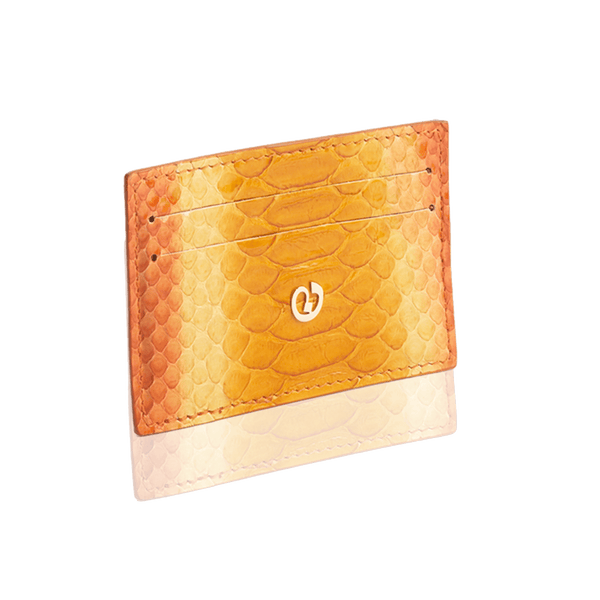 FL by NADA SAWAYA Card Case Orange Python Card Case