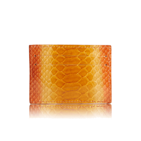 FL by NADA SAWAYA Credit Card Holder Orange Python Card Case