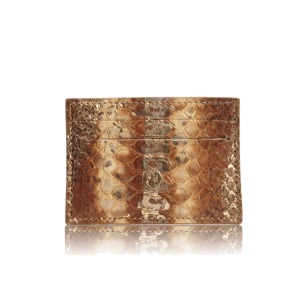 FL by NADA SAWAYA Credit Card Holder Tan Python Card Case