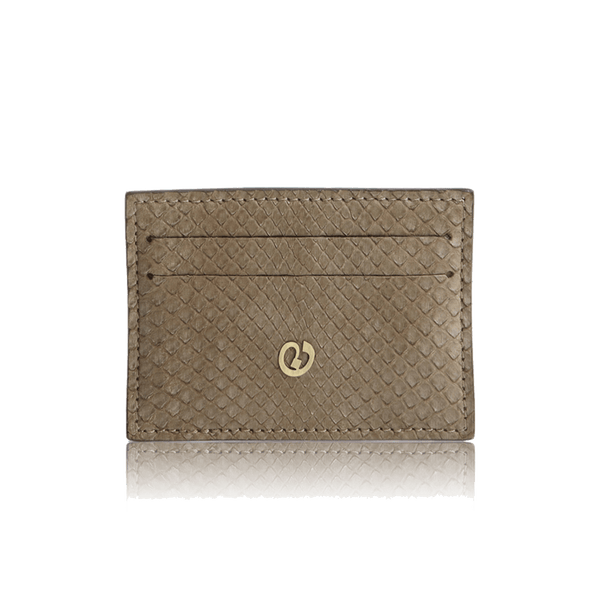 FL by NADA SAWAYA Credit Card Holder Taupe Python Card Case