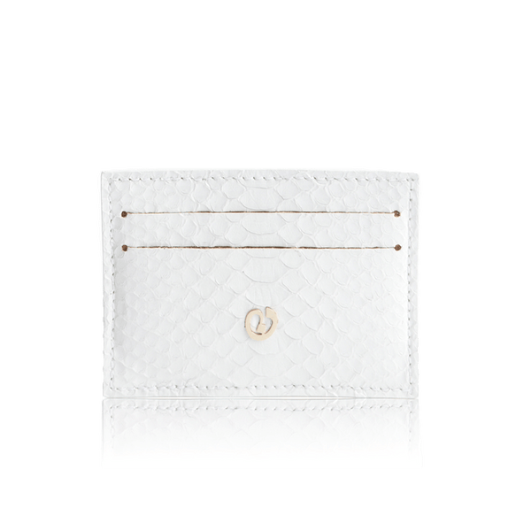 FL by NADA SAWAYA Credit Card Holder White Python Card Case