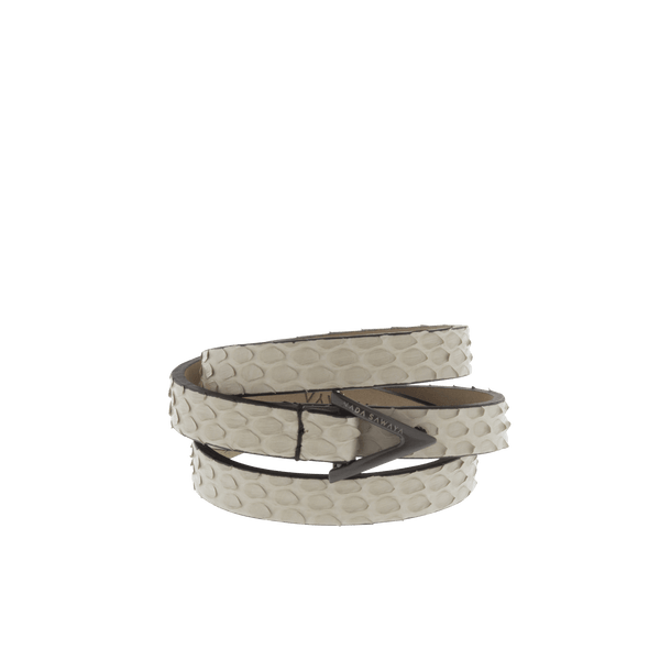 FL by NADA SAWAYA Fashion Jewelry Beige / Satin black nickel 3-Row Leather Python Bracelet