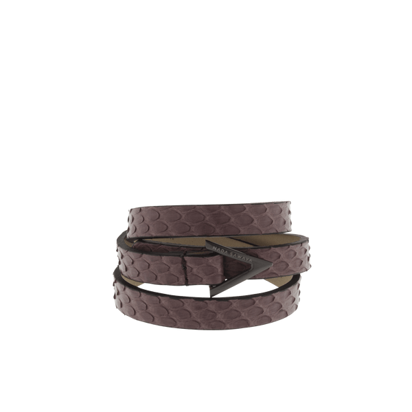 FL by NADA SAWAYA Fashion Jewelry Burgundy / Satin black nickel 3-Row Leather Python Bracelet