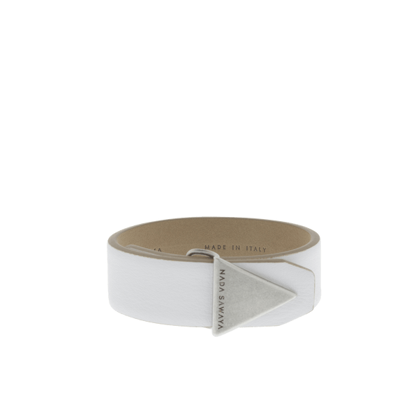 FL by NADA SAWAYA Fashion Jewelry White / Antic silver Double Wrap Leather Bracelet