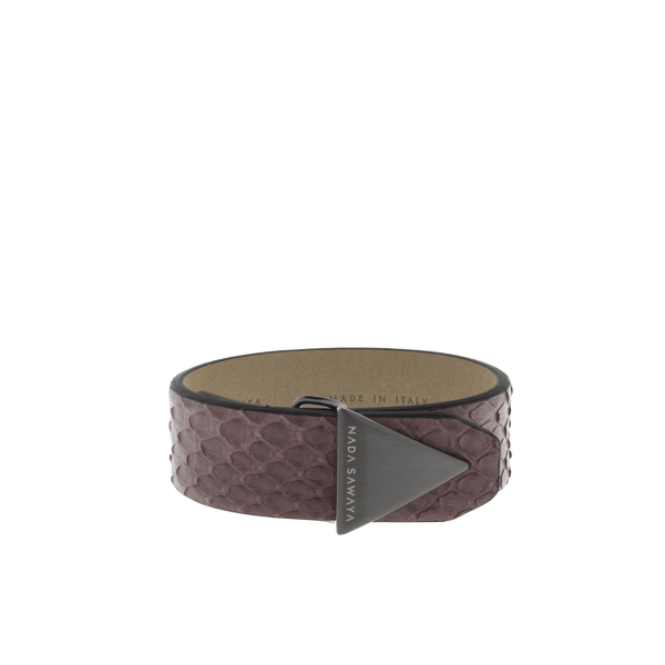 FL by NADA SAWAYA Fashion Jewelry Burgundy / Satin black nickel Double Wrap Python Bracelet
