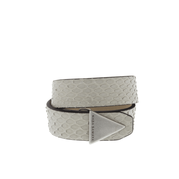 FL by NADA SAWAYA Fashion Jewelry Off White / Antic silver Double Wrap Python Bracelet