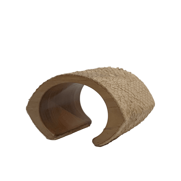 FL by NADA SAWAYA Fashion Jewelry Tan Leather & Wood Cuff Bracelet