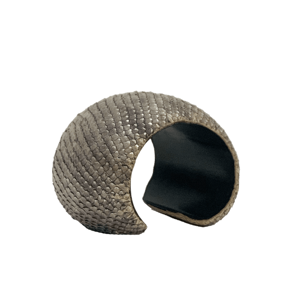 FL by NADA SAWAYA Fashion Jewelry Taupe Leather & Wood Cuff Bracelet
