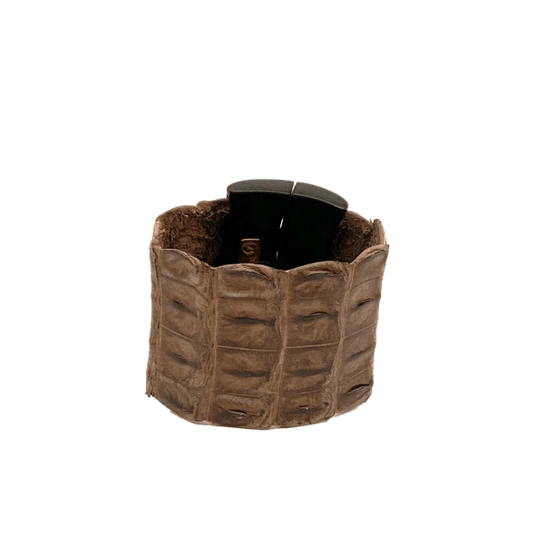 FL by NADA SAWAYA Fashion Jewelry Brown Medium Wood and Crocodile Magnetic Cuff