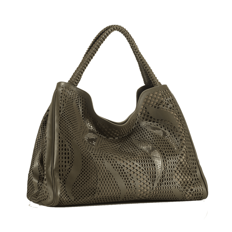 FL by NADA SAWAYA Hobo Oily-Tone Wynn Wynn - Laser Cut Python and Leather Hobo Bag - Wave Pattern