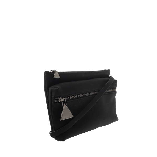 FL by NADA SAWAYA Messenger Black Zaza - Small Leather Messenger Bag