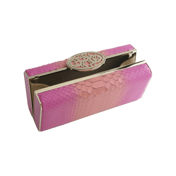 FL by NADA SAWAYA Minaudiere Fushia and Orange / Light gold Ali - Python Minaudiere