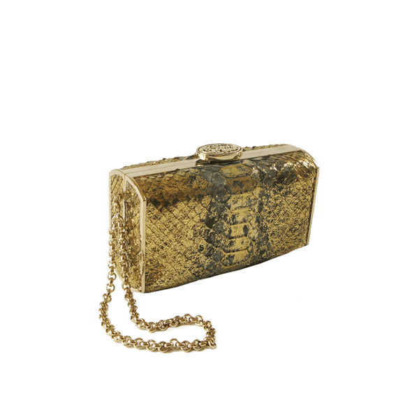 FL by NADA SAWAYA Minaudiere Gold / Light gold / Hand-painted Andrea - Mini Python Minaudiere