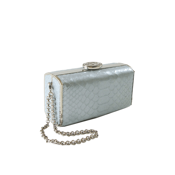 FL by NADA SAWAYA Minaudiere Light Blue / Palladium / Matt finish Andrea - Mini Python Minaudiere
