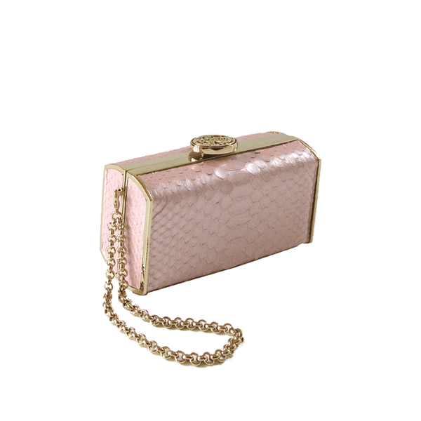 FL by NADA SAWAYA Minaudiere Light Pink / Light gold / Matt finish Andrea - Mini Python Minaudiere