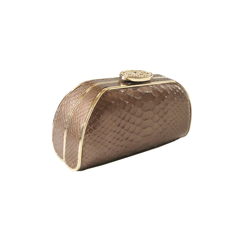 FL by NADA SAWAYA Minaudiere Bronze / Light gold Bella - Python Minaudiere