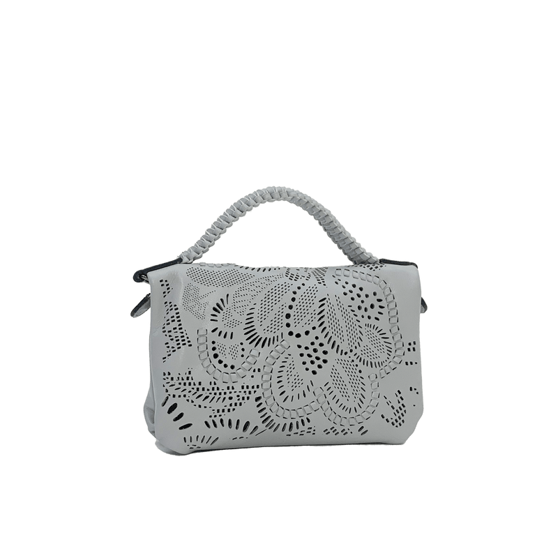 FL by NADA SAWAYA Mini Bags light blue / Gunmetal Bibi - Mini Laser Cut Leather bag - Floral Pattern