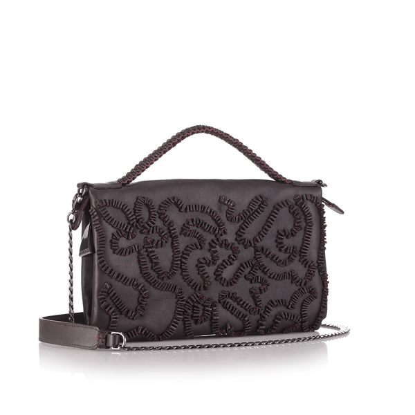 FL by NADA SAWAYA Mini Bags Maroon Bibi - Small Embroidered Leather bag