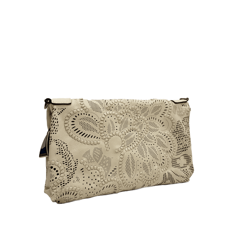 FL by NADA SAWAYA Mini Bags Beige / Gunmetal Bibi - Small Laser Cut Leather bag - Floral Pattern