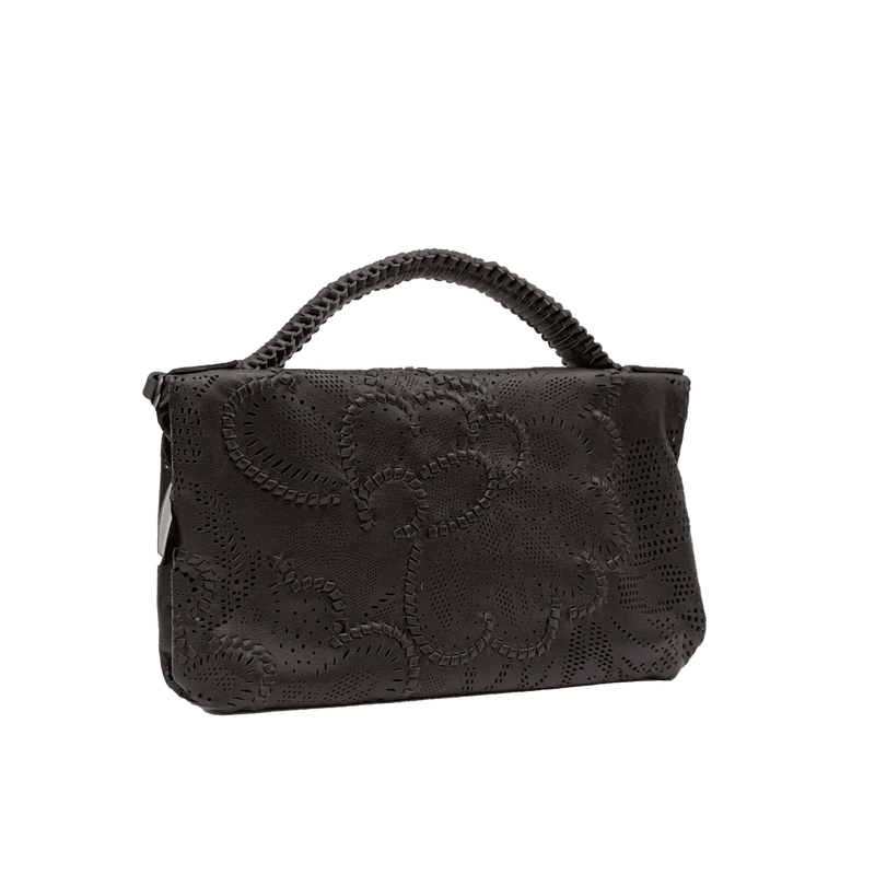 FL by NADA SAWAYA Mini Bags Brown / Gunmetal Bibi - Small Laser Cut Leather bag - Floral Pattern