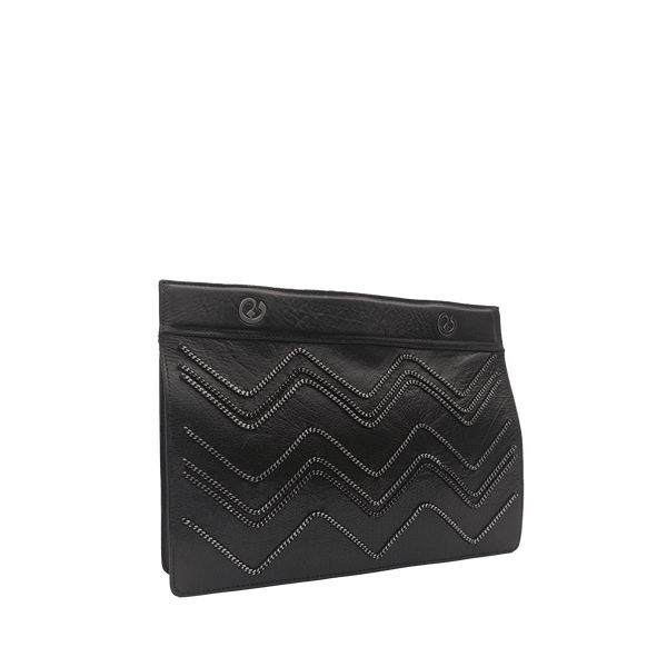 FL by NADA SAWAYA pochette Black Eres - Leather and Chain Pochette