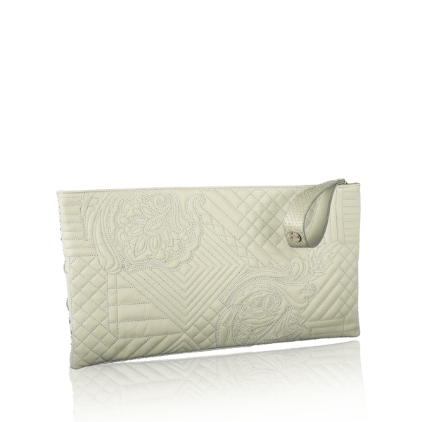 FL by NADA SAWAYA Pochette Off white Gigi - Embroidered Goatskin Pochette