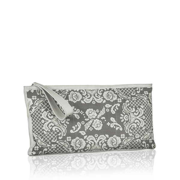 FL by NADA SAWAYA Pochette Off White Gigi - Laser Cut Leather Pochette - Lace Pattern