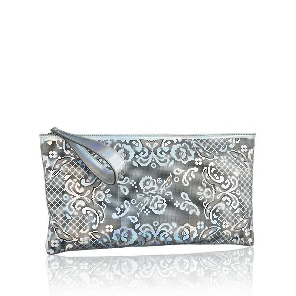 FL by NADA SAWAYA Pochette Silver Gigi - Laser Cut Leather Pochette - Lace Pattern