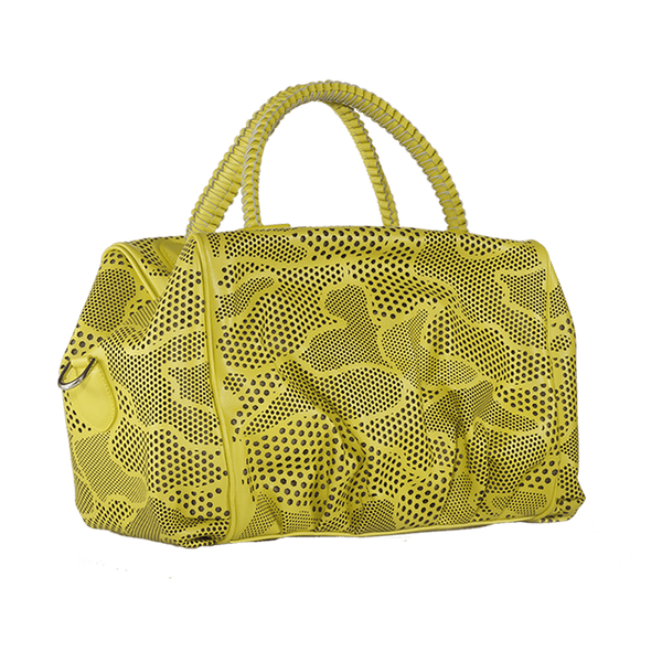 FL by NADA SAWAYA Satchel Yellow Nino - Laser Cut Leather Satchel Bag - Camouflage Pattern