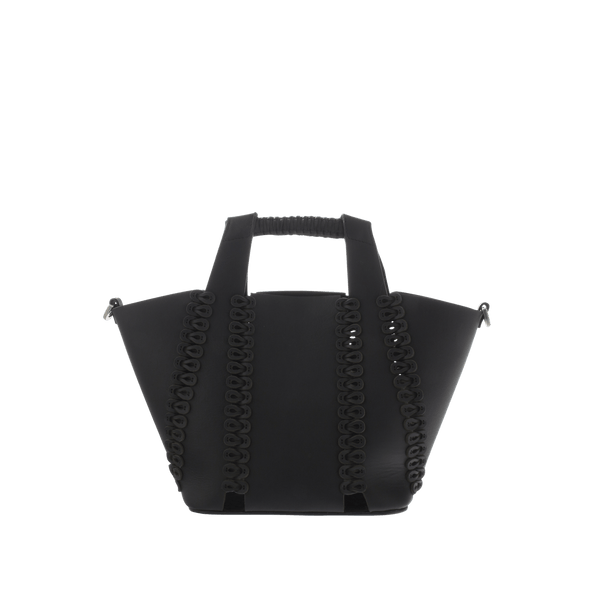 FL by NADA SAWAYA Top handle Black Mika - Small Laser Cut Leather Top Handle