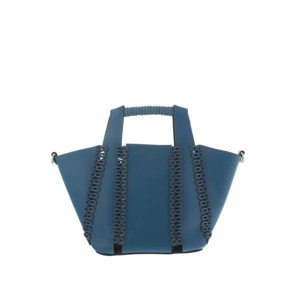 FL by NADA SAWAYA Top handle Blue Mika - Small Laser Cut Leather Top Handle