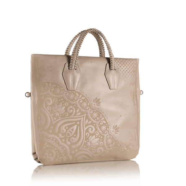 FL by NADA SAWAYA Tote B Lula - Laser Cut and Embroidered Top Zip Tote Bag