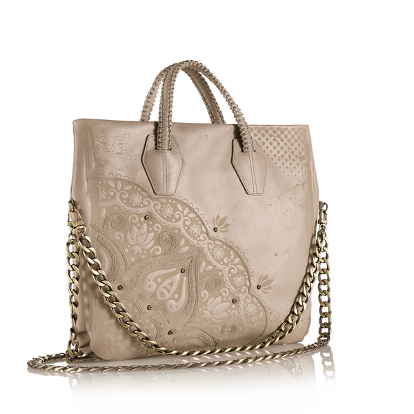 FL by NADA SAWAYA Tote Taupe / Nickel B Lula - Laser Cut and Embroidered Top Zip Tote Bag