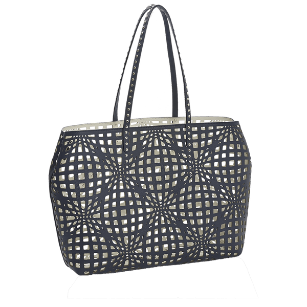 FL by NADA SAWAYA Tote Navy Lory - Laser Cut Leather Open Tote Bag
