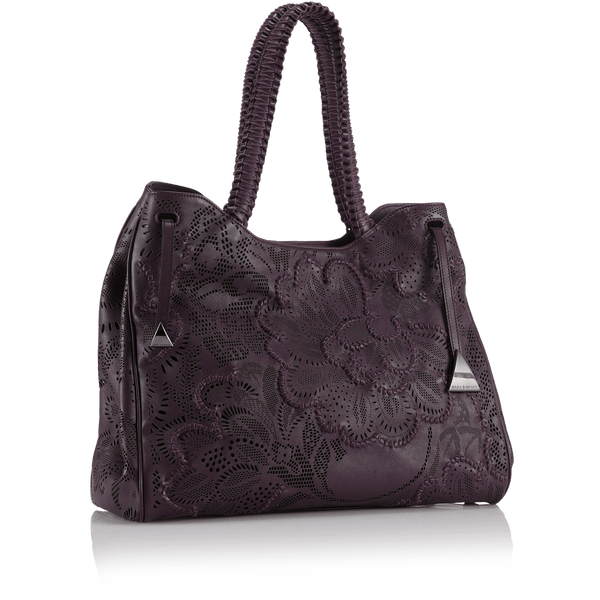 FL by NADA SAWAYA Tote Purple Shari - Large Laser Cut Leather Tote Bag - Floral Pattern